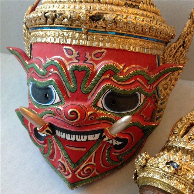 Antique Thai Demon Khon Mask - Image 11 of 11