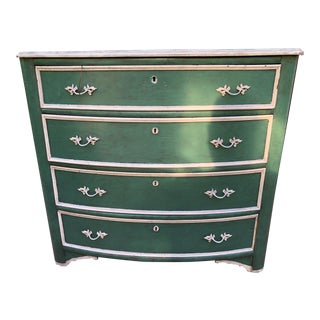19th Century Antique Green Painted Chest For Sale