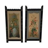 Image of Antique Ebonized Framed Floral Prints - A Pair For Sale