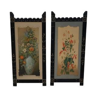 Antique Ebonized Framed Floral Prints - A Pair