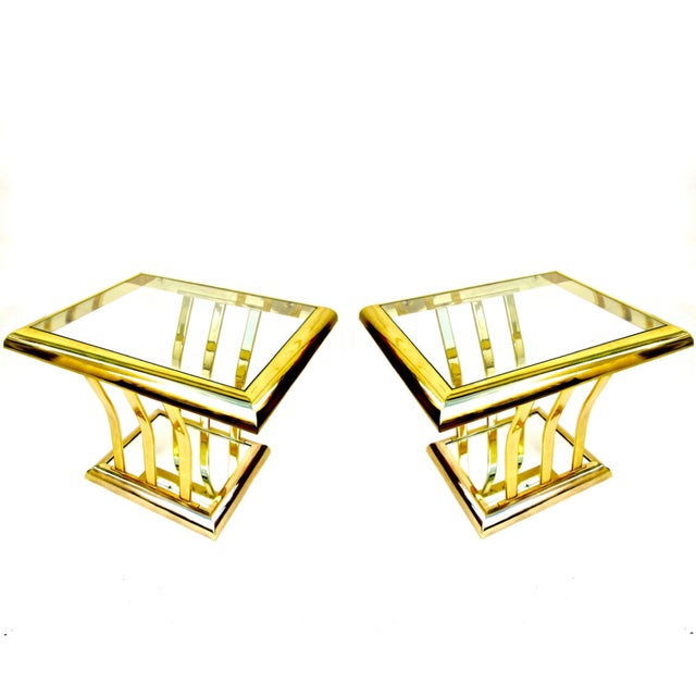 Post-Modern Two-Tier Brass End Tables - A Pair - Image 1 of 8