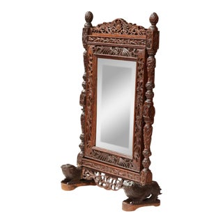 19th Century French Carved Black Forest Free Standing Beveled Glass Mirror For Sale