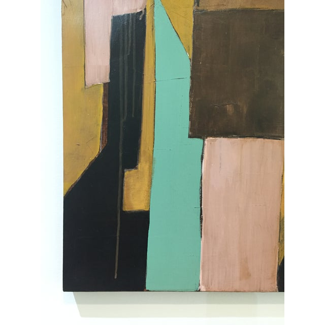 Bold abstract by contemporary San Francisco artist Rick Griggs. Confident brushstrokes shapes and lines that intersect to...