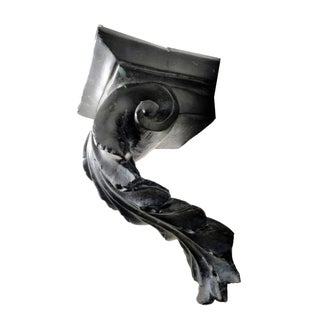 1970s Neoclassic Scrolling Black Cast Stone Acanthus Leaved Corbel Wall Shelf Preview