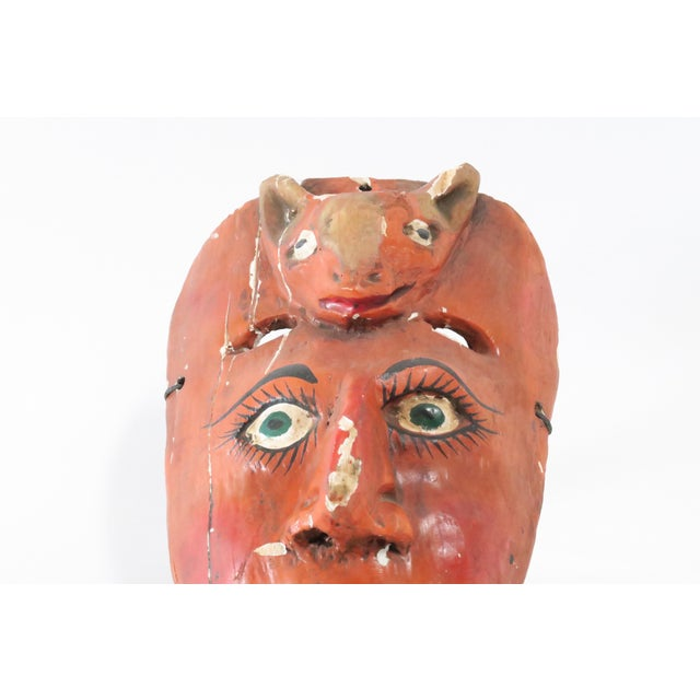 Red Wood Carved Mask - Image 3 of 6