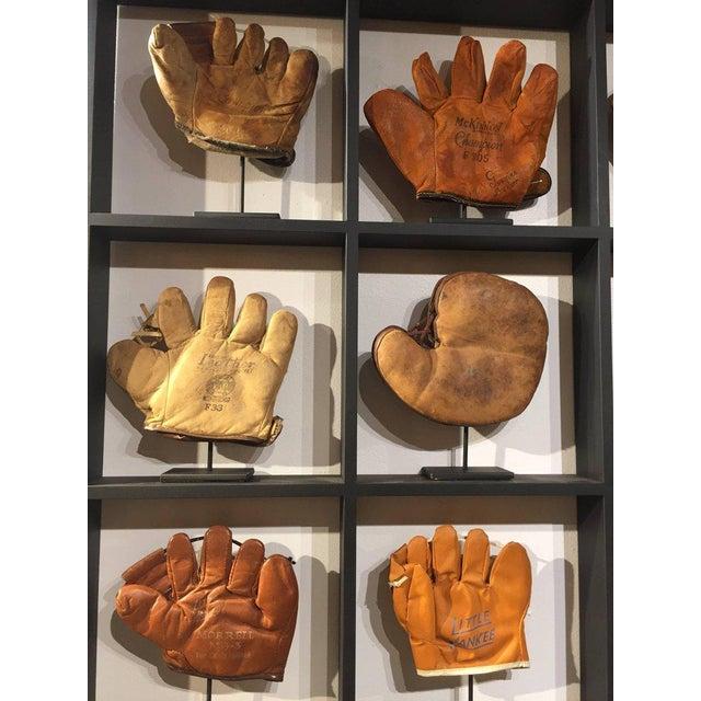 Rare Antique Miniature Children's Set of Nine Custom Framed Baseball Gloves Mitt - Image 4 of 10