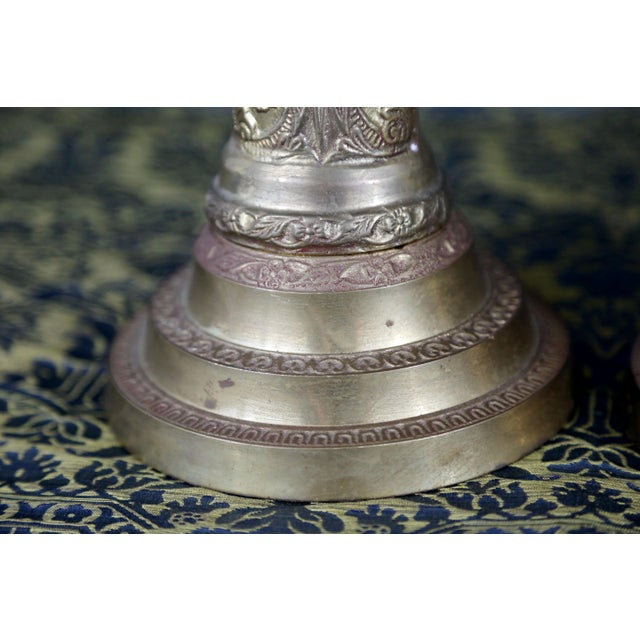 Brass Vintage Brass Cherub Candlesticks - A Pair For Sale - Image 7 of 11