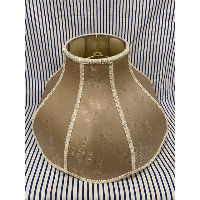 Chinoiserie Vintage Asian Floral Large Golden Fabric Lamp Shade For Sale - Image 3 of 8