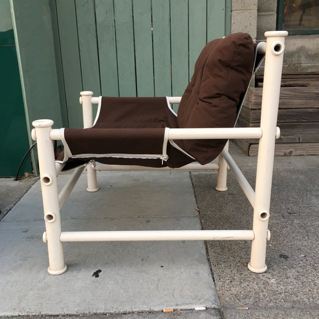 Mid-Century Modern Vintage PVC Pipe Lounge Chair For Sale - Image 3 of 7