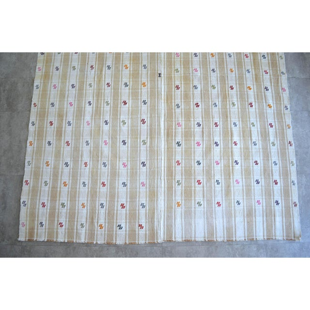 """White Vintage Anatolian Braided Rug Hand Woven Cotton Small Rug Sofreh - 6'8"""" X 8'6"""" For Sale - Image 8 of 11"""