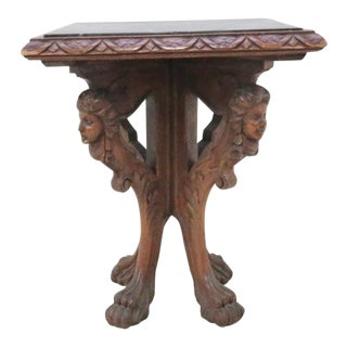 Figural Carved Marble Top Side Table For Sale