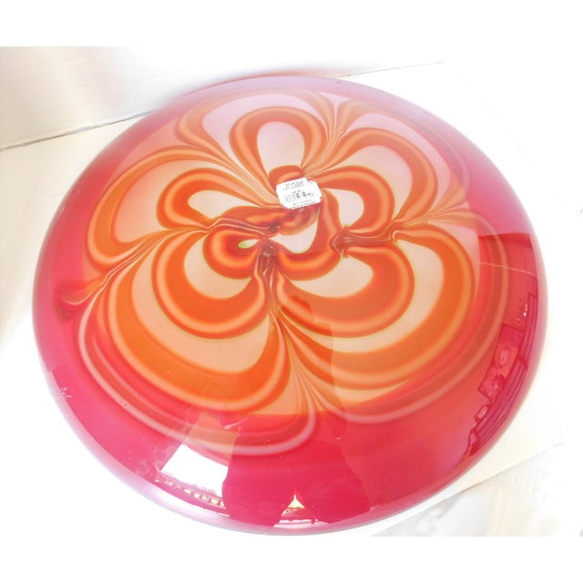Art Deco Evolution by Waterford Red Art Glass Round Platter For Sale - Image 3 of 12