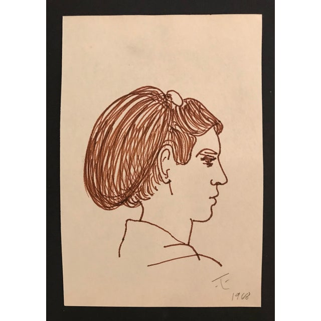 Figurative 1968 Mid-Century Portrait of a Lady Drawing by James Bone For Sale - Image 3 of 3