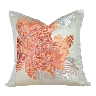 Coral Peony Vintage Japanese Silk Obi Pillow Cover