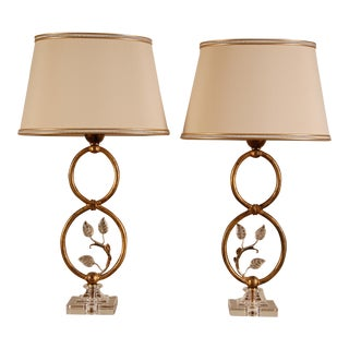 1970s Italian Design Banci Firenze Murano Glass Gilt Metal Table Lamps - a Pair For Sale