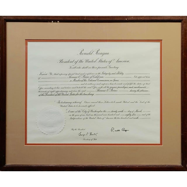 Ronald Reagan Signed Presidential appointment to Thomas Paine for Space Commission Original Historic Presidential Document...