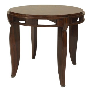 French Art Deco Round Rosewood End Table