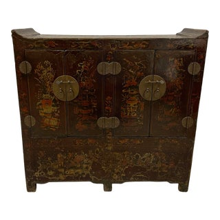 Antique Chinese Lacquer Painted Twin Cabinet For Sale