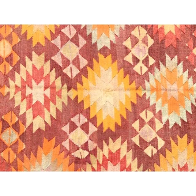 Burnt Orange Vintage Turkish Kilim Rug For Sale - Image 9 of 11