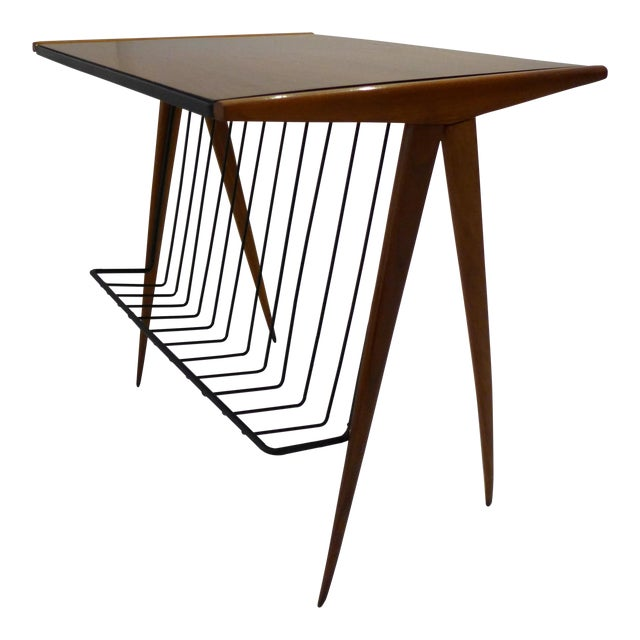 Side Table with Magazine Rack by Arthur Umanoff For Sale