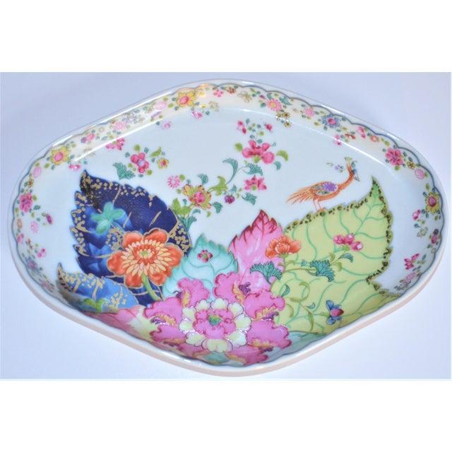 Dark Pink Vintage Mottahedeh Tobacco Leaf Porcelain Oval Tray For Sale - Image 8 of 8