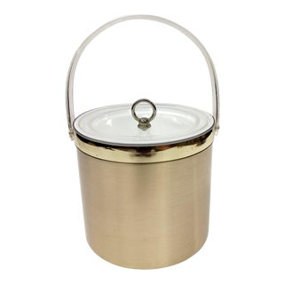 Georges Briard Mid-Century Modern Gold Metallic and Lucite Ice Bucket For Sale