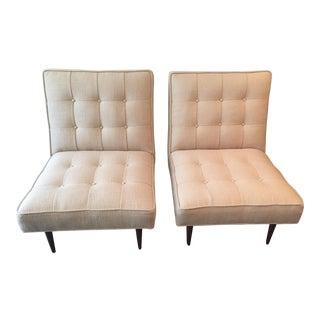 Paul McCobb Style Button Tufted Slipper Chairs - A Pair