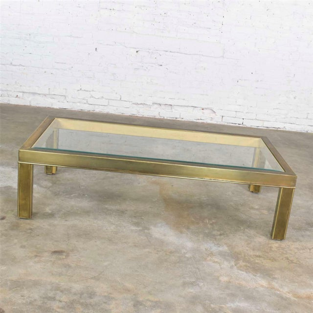 Brass Large Modern Brass & Glass Parsons Style Coffee or Cocktail Table Style Mastercraft For Sale - Image 8 of 13