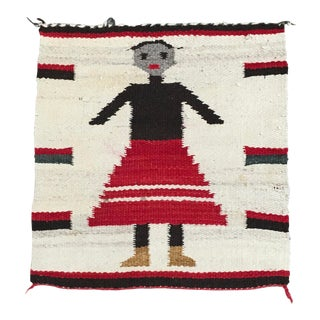 1950s Vintage Navajo Style Pictorial Mat Depicting a Child - Dimensions1′2″ × 1′2″