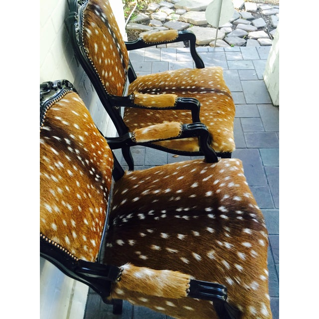 French Axis Deer Arm Chairs - Pair For Sale - Image 5 of 11