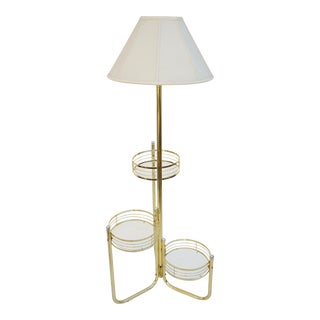 Mid-Century Modern Brass & Glass Three Tier Plant Stand + Floor Lamp | Chic Postmodern Lighting For Sale