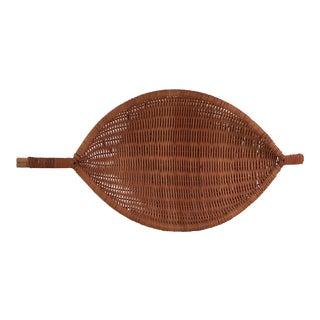 Vintage Handled Woven Basket For Sale