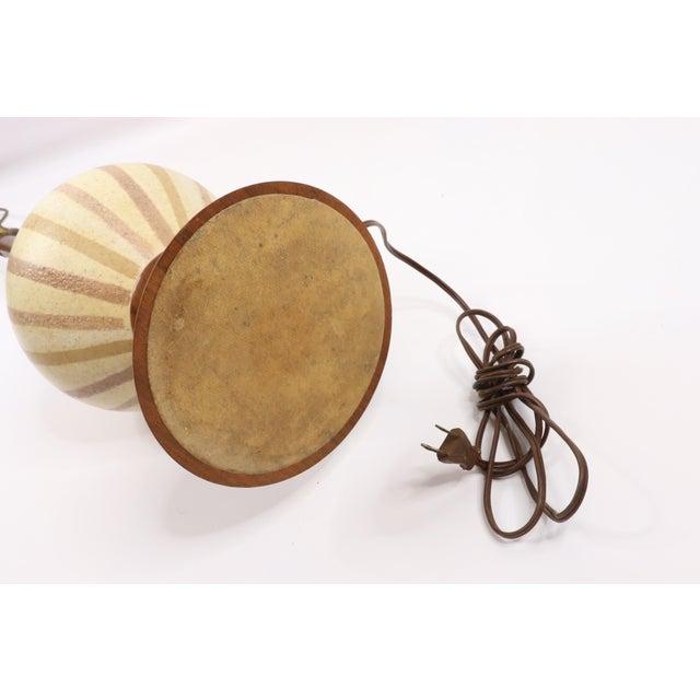 Wood Vintage 1970s Mid Century Modern Striped Ceramic Teak Wood Table Lamp For Sale - Image 7 of 9