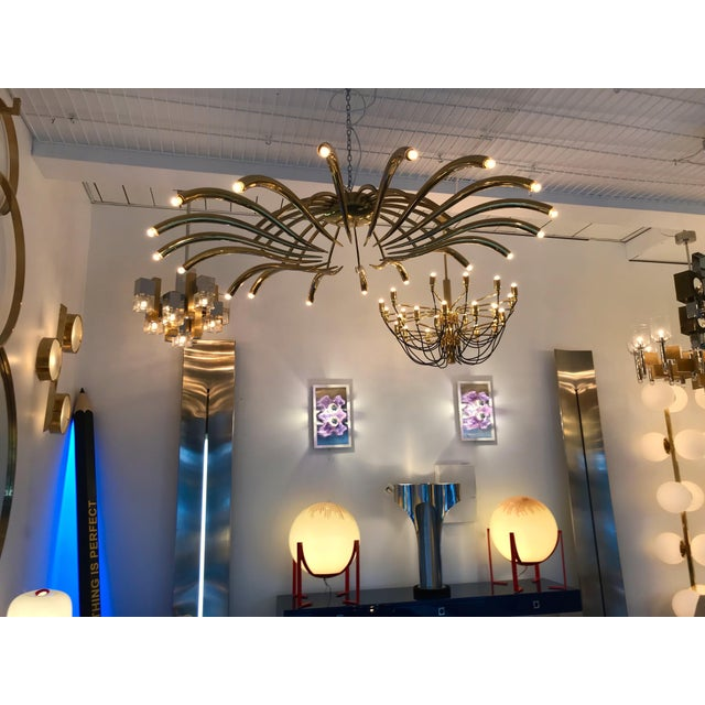 Metal Brass Ceiling Chandelier Model 391 by Oscar Torlasco for Lumi, Italy, 1960s For Sale - Image 7 of 10