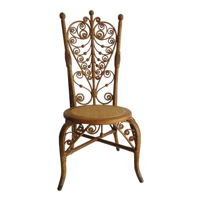 Late 19th Century Vintage Heywood Wakefield Victorian Wicker Photographer's Chair For Sale