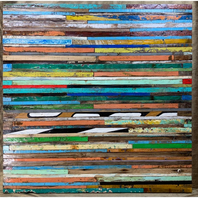 Abstract Reclaimed Wood Wall Sculpture For Sale - Image 12 of 13