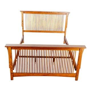 Restoration Hardware Mission Style Slatted Wood Queen Size Bed Frame For Sale