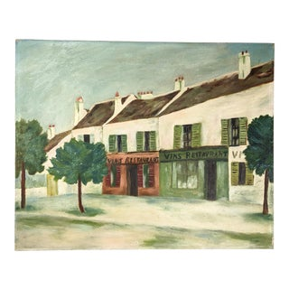 Vintage Oil Painting on Canvas of an Old Street Scene For Sale