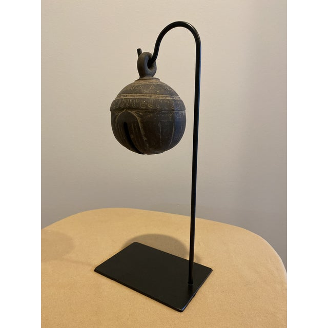 """Antique metal bell on custom made metal stand. Makes great sound. Bell diameter is 4"""" and about 5.5"""" tall. Metal base..."""