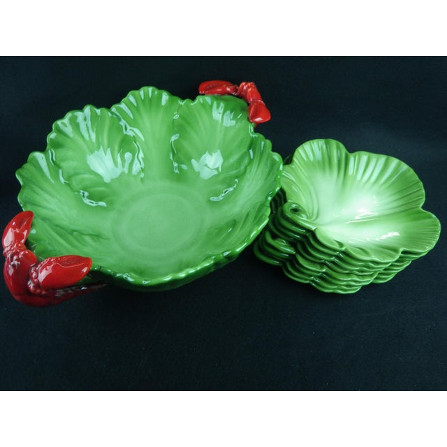 1950s Vintage Brad Keeler for California Pottery Salad Bowl and Plates - Set of 9 For Sale - Image 4 of 12