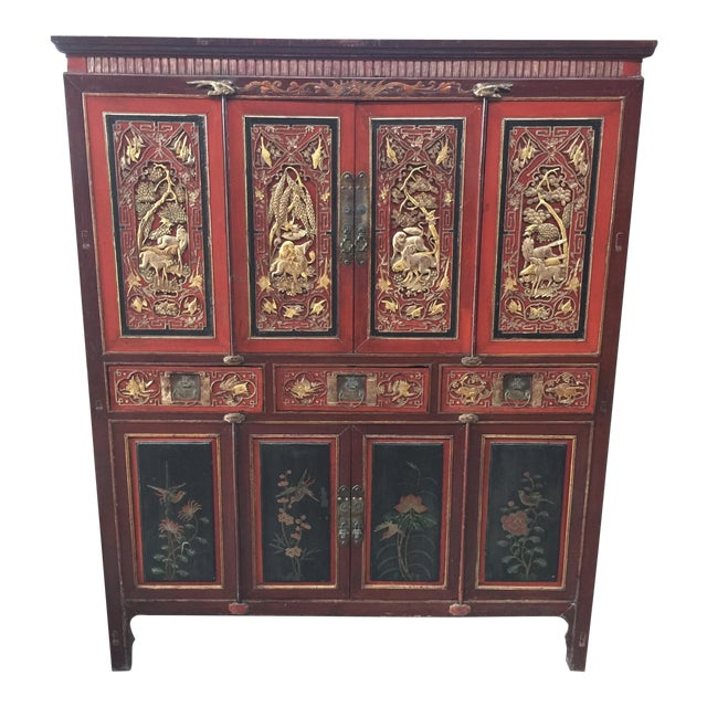 Antique Carved Asian Cabinet For Sale