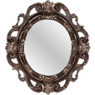 Italian Carved Wooden Oval Mirror For Sale