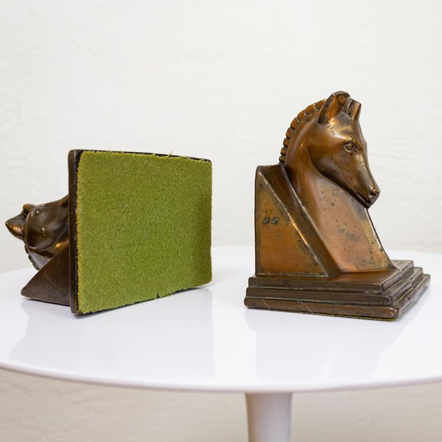 Trojan Horse Bookends | Art Deco Copper Plated For Sale - Image 6 of 10
