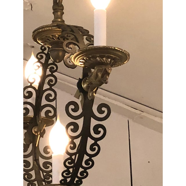 Pair of Extraordinary and Rare Medieval Style Antique Light Fixtures For Sale - Image 9 of 12