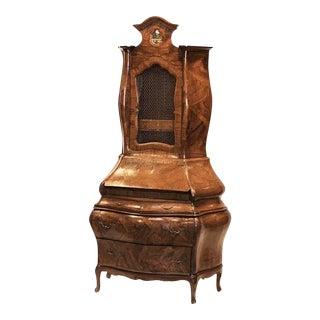 Early 20th Century Italian Rococo Style Walnut Secretary Cabinet For Sale
