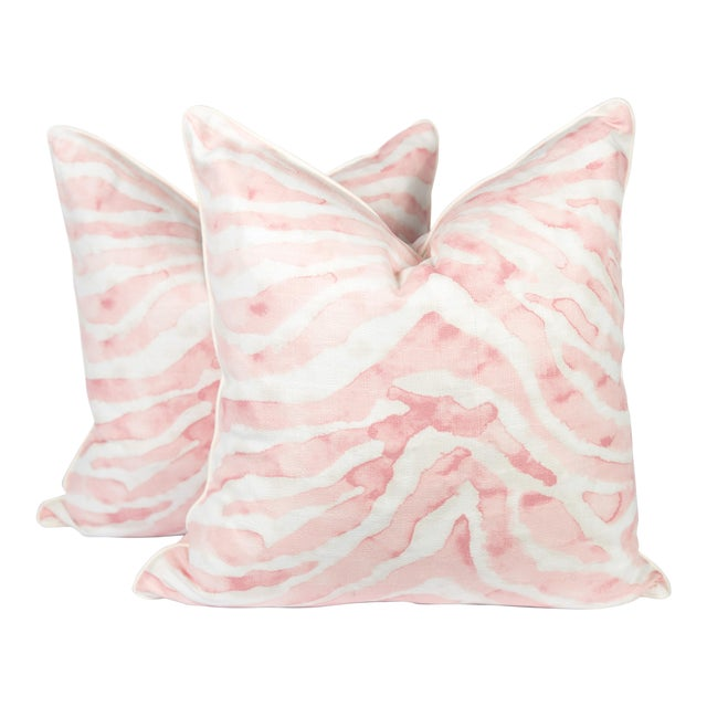 Blush Pink Sahara Linen Zebra Pillows, a Pair For Sale