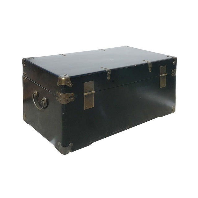 Camphor Wood Black Lacquer Trunk W/Bronze Hardware - Image 3 of 4