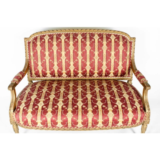 Early 19th Century Louis XVI Style Giltwood Frame Settee For Sale - Image 4 of 13