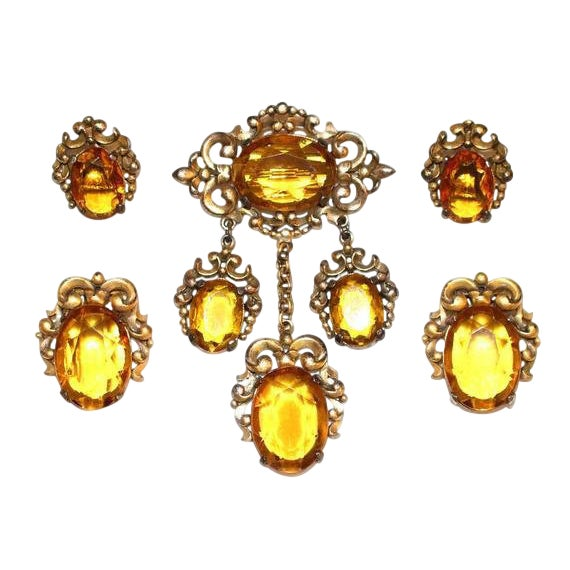 1930s Edwardian-Style Topaz Parure, Brooch, Dress Clips and Earrings Set For Sale