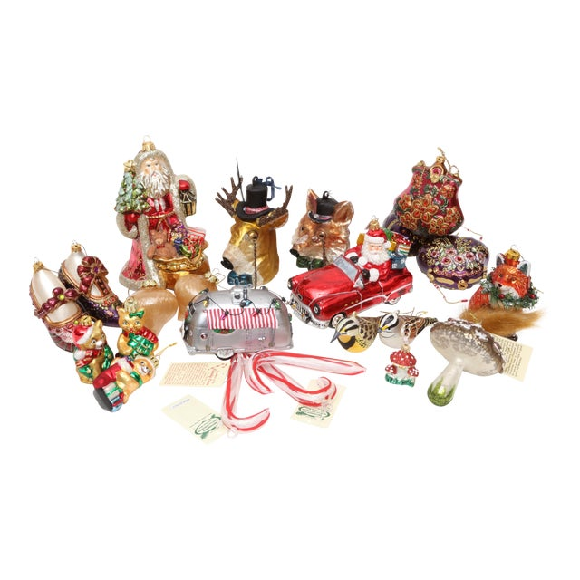 Hand Blown Glass Christmas Ornaments - Set of 23 - Image 1 of 11